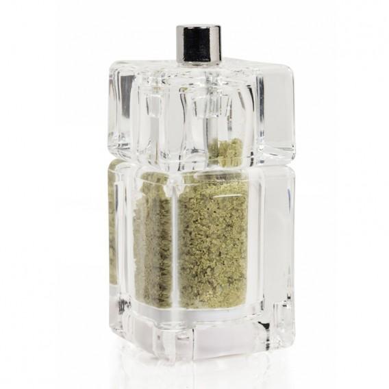 Salt with Basil and Garlic, square grinder 30g
