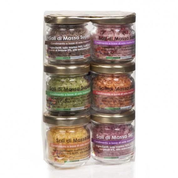 Six flavour salts in 25 g jars