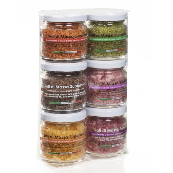 Six flavour salts in 80 g jars