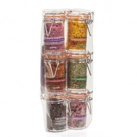 Six flavour salts in 80 g jars -Hermetic closure-