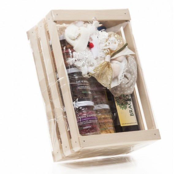 Sei sapori in vasetti da 80g + Braciolio 250ml in Scatola di Legno Confezione Natale