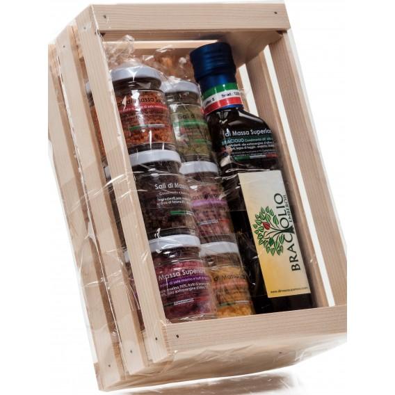 Confezione regalo sali e olio aromatizzati in scatola di legno